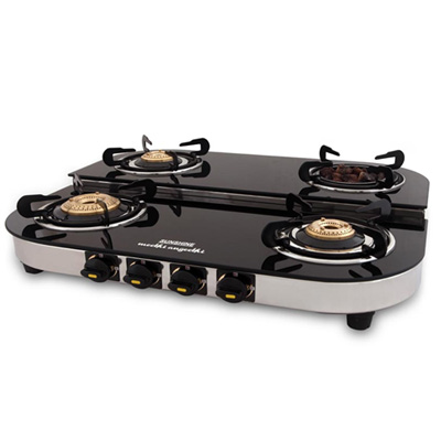 Four Burner Step Glass Top (1 Angeethi Br & 3 Brass Br)