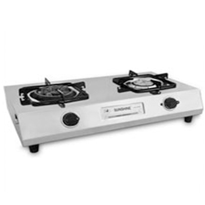 Double Burner Stainless Steel (1 Angeethi Br & 1 Brass Br)