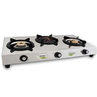 Three Burner Stainless Steel (1 Angeethi Br & 2 Brass Br)