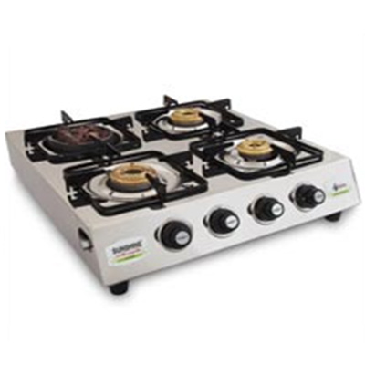 Four Burner Stainless Steel (1 Angeethi Br & 3 Brass Br)